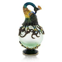 Welforth Fine Pewter Peacock Green Perfume Bottle