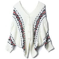 V-shaped Neck Batwing Sleeve White Cardigan [NCSWQ0262] - $37.99 :