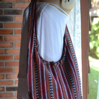Hand Woven Cotton Bag Purse Hobo Hippie Sling Crossbody Messenger IKAT Lined Top Zip A08