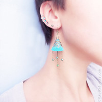 Blue bell - suede earrings