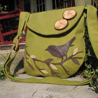 Sale -SINGING BIRD on a branch/ Purse/Shoulder Bag/ Messenger/handbag/ tote/school bag/Olive Green- Buy any 2 and receive 10% off