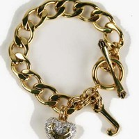 Juicy Couture Pave Heart Starter Charm Bracelet