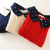 Winter Cute Polka Dot Collar Sleeves Simple Sweater 3 Colors
