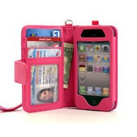 Amazon.com: Folio Wallet iPhone 4 iPhone 4S Case for AT&T Verizon & other carriers - Hot Pink - Multifunctional Case - Premium Quality - Inside Surface Is Emerized Scratch Proof to Protect Your IPhone: Cell Phones & Accessories