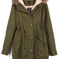 Fur Hooded Drawstring Green Coat  S007044