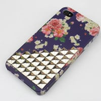 Silvery  Stud Little Red Flowers  Hard Case Cover for Apple iPhone 4gs Case, iPhone 4s Case, iPhone 4 Hard Case
