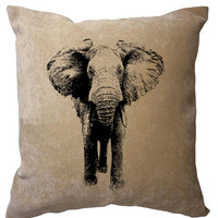 Elephant 15x15 Velvet Cushion / Pillow / Throw Cover / Housewares Decor Decorative Pillows Eco Friendly