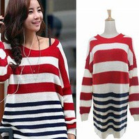 Korea Women Long Sleeve Loose Sweater Stripe Knit Jumper Tops Knitwear K312