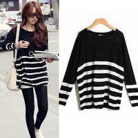 Women Korea Stripe Knit Sweater Long Sleeve Loose Jumper Knitwear Tops K297
