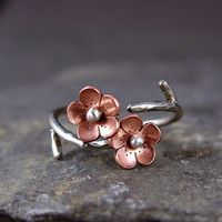 Cherry Blossom Branch Adjustable Ring,Spring Jewelry,1 single flower ring  MADEtoORDER, Plum blossom, Twig jewelry,  ROUND Petals