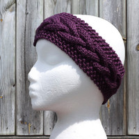 Cable Knit Headband - KNIT TO ORDER - Purple Ear Warmer - Plum Purple - Acrylic Yarn