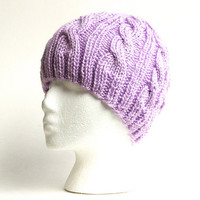 Purple Cable Beanie - Knit Winter Hat - Lilac Purple - Acrylic Yarn