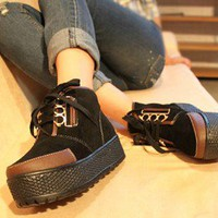 New Women's Retro Colorblock Platform Shoes High Rise Warm Sneakers Boots Preppy