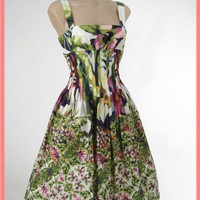 Retro Style Floral Border Print Full Skirt Sundress-Vintage Styl Dresses