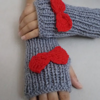 Hand knitting gloves, Grey fingerless gloves with bow red,  new fashion, women accessories. Handmade gifts, holiday gifts, miitten, warm