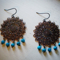 Antiqued Copper Sunburst and Turquoise Earrings