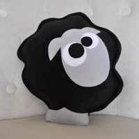 Count the Sheep Plush Pillow Black Gray by bedbuggs on Etsy