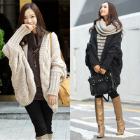 Lady Loose Warm Sweater Coat Wool Knit Cardigan Outwear Batwing Cwallow-tailed W