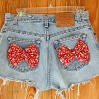 Denim High Waist Hipster Shorts with Red Bows and Gemstones