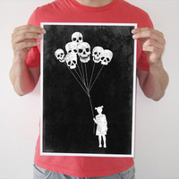 Original digital print girl skull balloon black white creepy horror blood goth art vintage poster