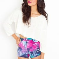 Slasher Flick Cutoff Short - Tie Dye - NASTY GAL
