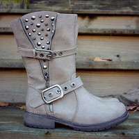 Spiked &amp; Studded Boots Beige-Ice Faux Leather Riding Rustic Buckle Strap Womens