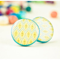 Yellow stud earrings polymer clay by Lepun on Etsy