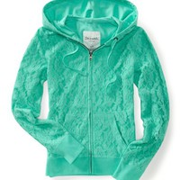 Floral Lace Full-Zip Hoodie