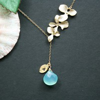 Custom birthstone and initial leaf necklace with by DelicacyJ