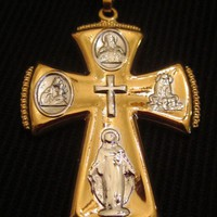 Cross Pendant Pray Jesus Talisman 14k Gold Filled Yellow White Icons