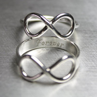 Infinity Ring, Engraved, Sterling, Silver, Knot, Symbol, Forever, Jewelry