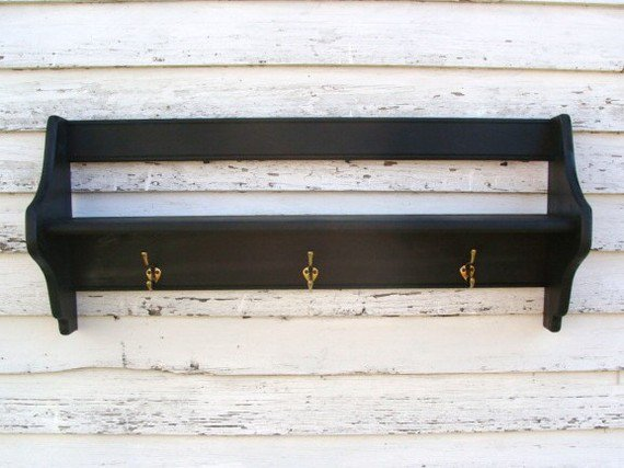 shelf with hooks entryway storage from baconsquarefarm on etsy. Black Bedroom Furniture Sets. Home Design Ideas