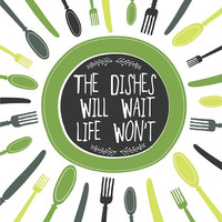 Kitchen Art Print Wall Decor, GREEN Kitchen Decor, Plate, Utensils, Dishes Illustration Wall Decor, Kitchen Saying, Kitchen  Art