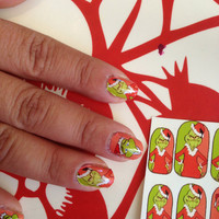 You're a Mean one Mr. GRINCH nail decals Great STOCKING STUFFER Dr. Seuss