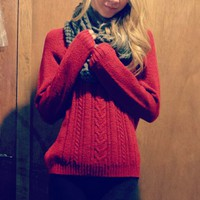Womens Red Crewneck Sweater