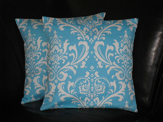 26 Inch Decorative Pillow Covers : Turquoise Pillows EURO shams DAMASK Throw from LittlePeepsHomeDec