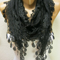 New - Gift Scarf -  Black Scarf with Trim Edge-Shawl