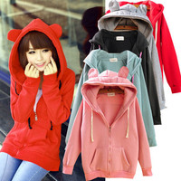 Rabbit Bear Ear Hoodie HoodyKorean Japan jacket sweater coat sweatshirt top S-M
