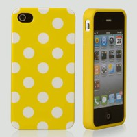 eFuture(TM) Yellow&white Polka dots flexi Gel TPU cover case fit for iphone4 4G 4S +eFuture's nice K