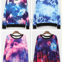 Women&#x27;s Galaxy Space Starry Print Flannel Long Sleeve Jumper Top Round T Shirt
