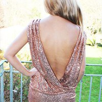 Gold sequin open back backless slouch mini dress from Fashun