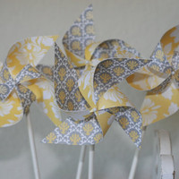 Wedding favor Yellow/Grey 12 Mini Pinwheels Custom by aubabi78