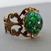 Antique Brass Green Opal Adjustable Ring