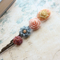 Flower Bobby Pins, Pink Rose, Floral Hair Clips, Shabby Chic Hair Accessories, Denim Blue Daisy, Cream Rose and Pink Cameo Camee