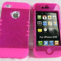 Glitter Pink with Hot Pink iPhone 4 4S Case ishield Hybrid Heavy Duty Snap On