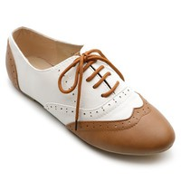 Ollio Women's Classic Dress Oxfords Low Flats Heels Lace Up Brown and White Shoes