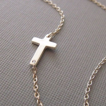 Cross Necklace Sideways Cross Charm In by pinkingedgedesigns