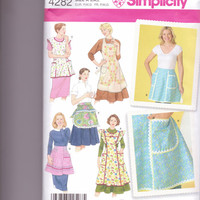 New Simplicity Pattern Vintage style apron small medium large  full apron half apron retro style