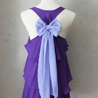 VIOLET AURA - Romantic purple flowy tier blouse // pastel lavender // chiffon sash bow // tunic // tank top // racerback