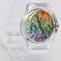 The Dripping Paint Watch with Clear Band